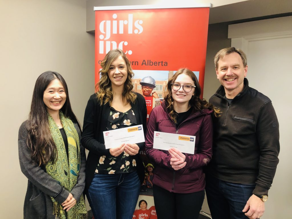 Girls Inc of Northern Alberta and Finning Canada announce first recipients of Finning Canada Spotlight on STEM Scholarships.