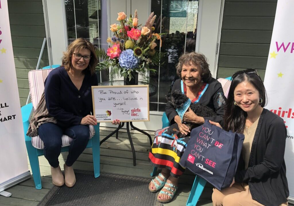 L-R: Nicole Bourque-Bouchier, CEO/Co-owner of Bouchier; Lina Gallup, second nominee of 2021-2022 Women of Inspiration Series & Nanase Tonda, Executive Director of Girls Inc. of Northern Alberta